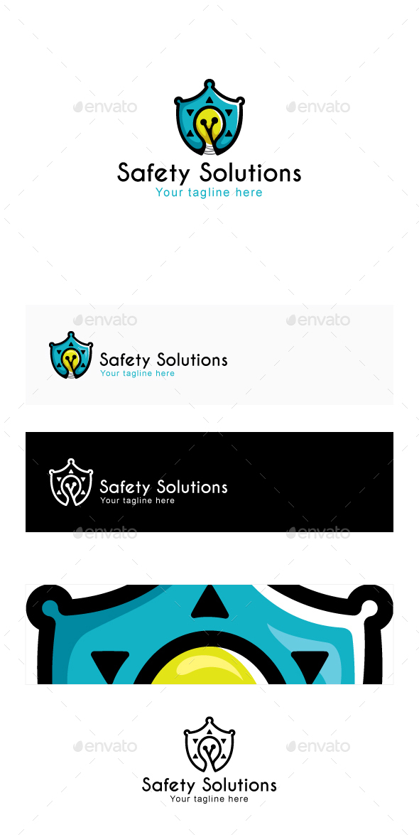 Safety Solutions - Shield Icon with Bulb ( idea )  - Objects Logo Templates