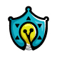 Safety Solutions - Shield Icon with Bulb ( idea )