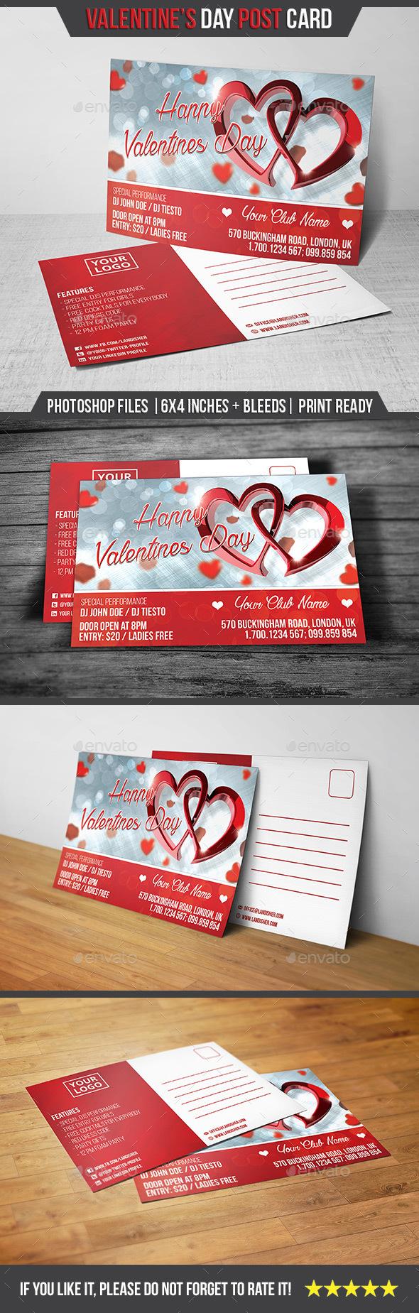 Valentines Day - Postcard - Cards & Invites Print Templates