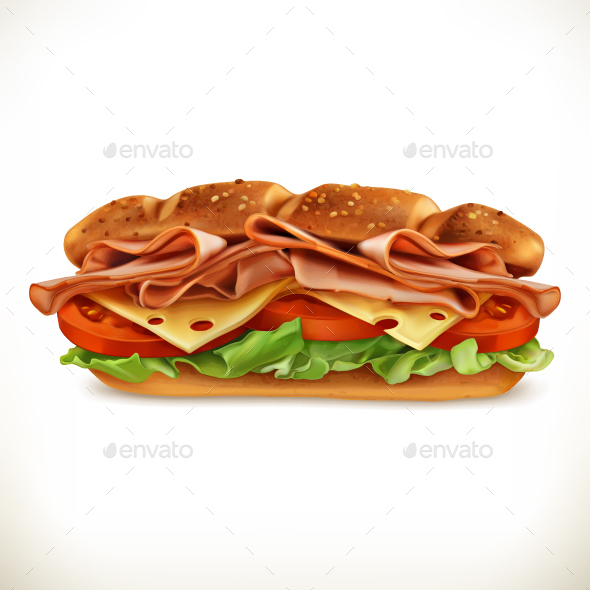Sandwich with Meat and Cheese - Food Objects
