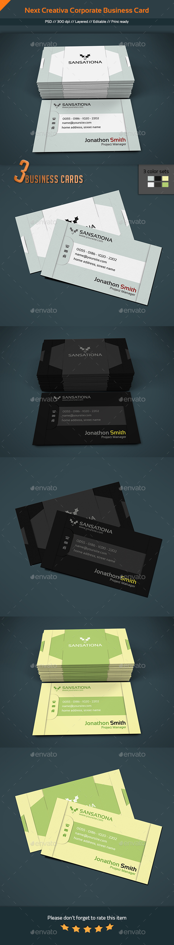 Next Creativa - Corporate Modern Business Card V1 - Corporate Business Cards