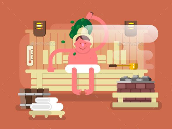 Man In The Sauna Steam - Health/Medicine Conceptual