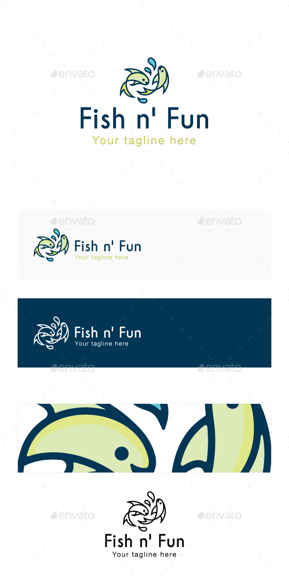Fish n' Fun - Water Animal Playing Together - Stock Logo Template  - Nature Logo Templates