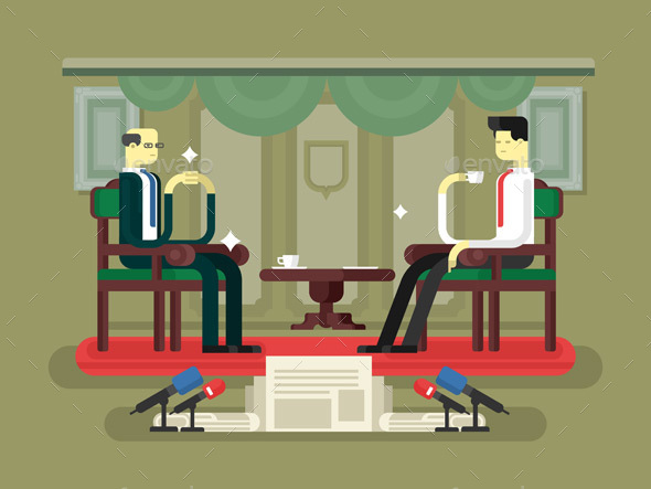 Politician Interview Flat Design - People Characters