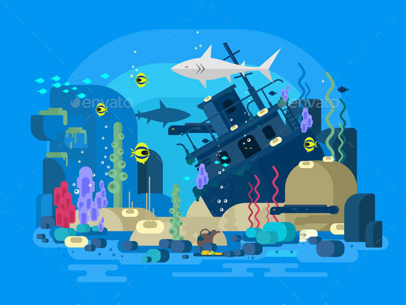 Sunken Ship Under Water - Landscapes Nature