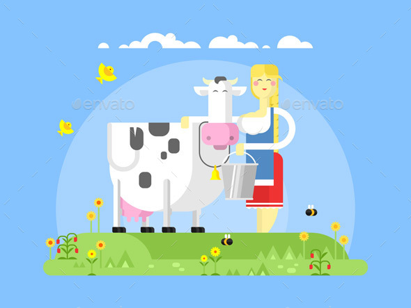 Cartoon Character Cow And Milkmaid - People Characters