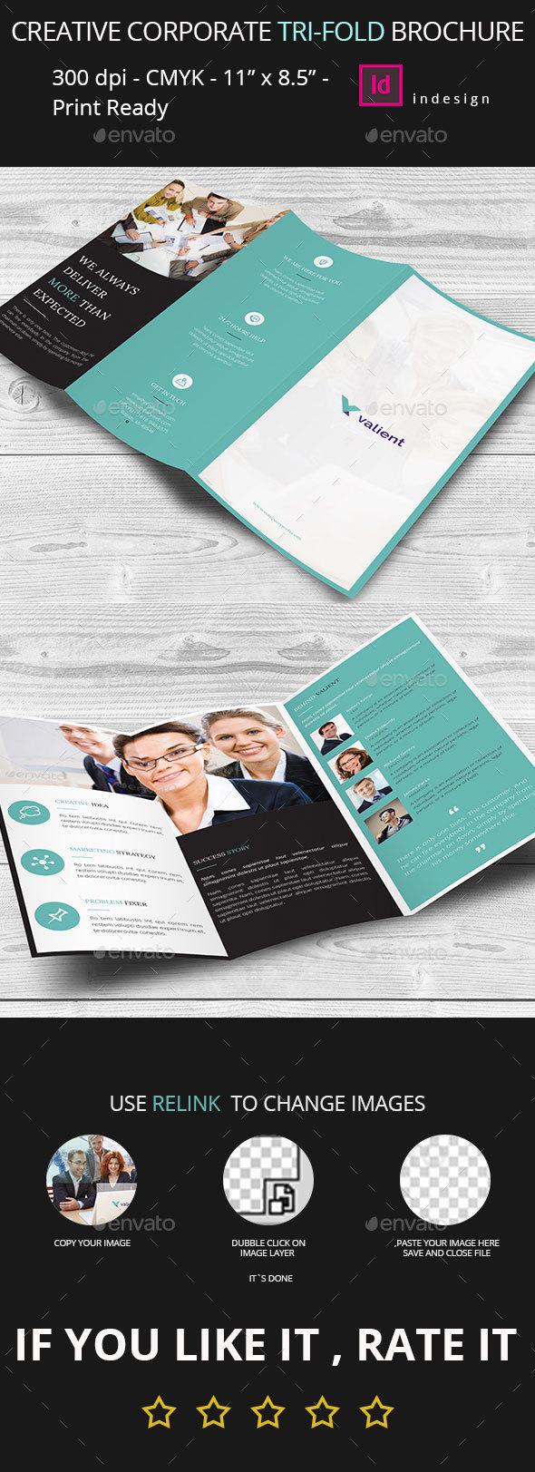 Creative Corporate Business Tri-Fold Brochure Indesign Template - Corporate Brochures