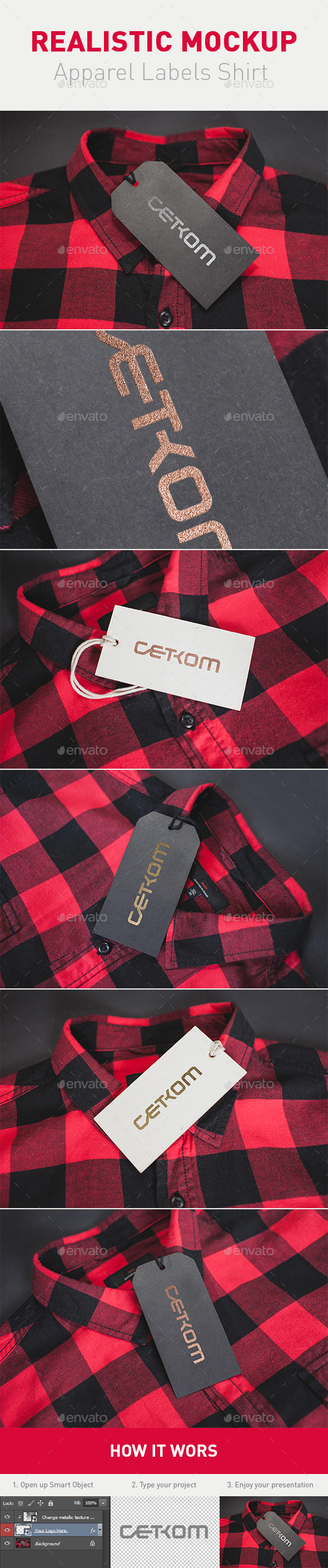 Realistic Clothing Labels Shirt - Apparel Product Mock-Ups