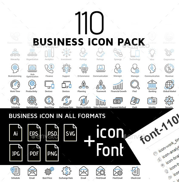 110 Business icon pack - Blue - Business Icons