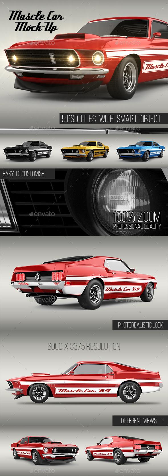 Muscle Car Mock-up - Vehicle Wraps Print