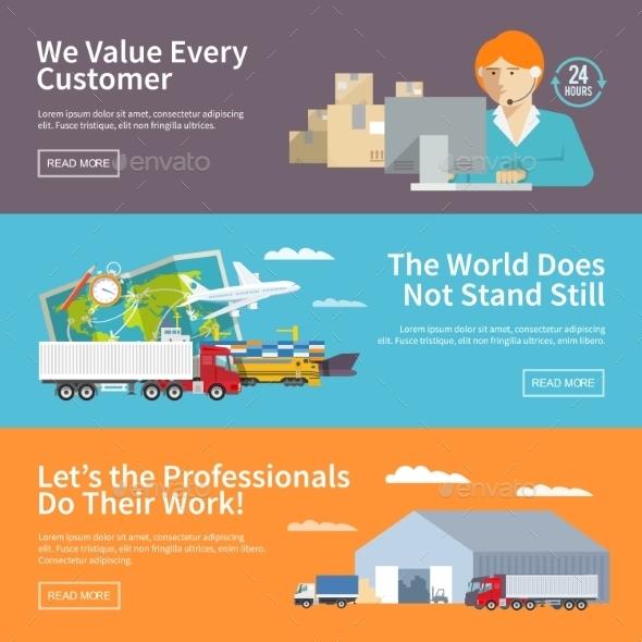 Colorful Flat Vector Logistics Banners Set - Travel Conceptual