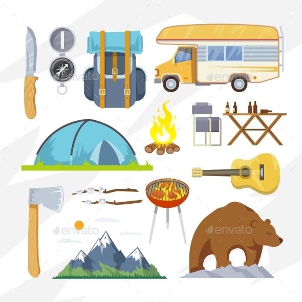 Vector Flat Camping Icons - Travel Conceptual