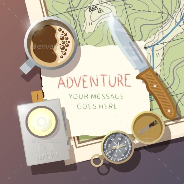 Vector Camping Poster - Travel Conceptual