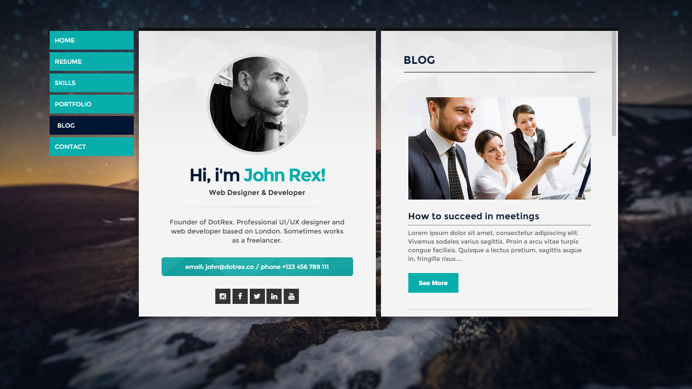 cards personal vcard resumecv portfolio wordpress theme