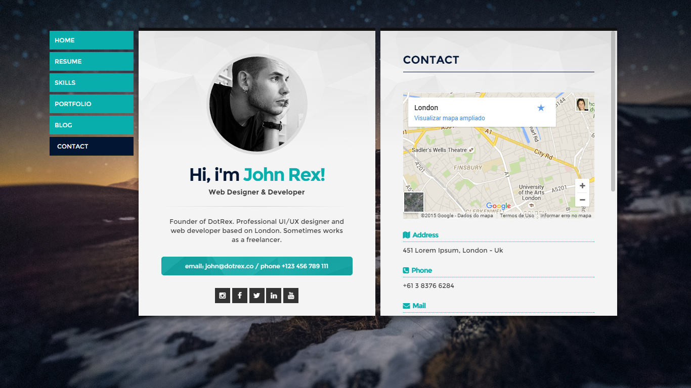 Cards Personal Vcard Resume Cv Portfolio Wordpress Theme By