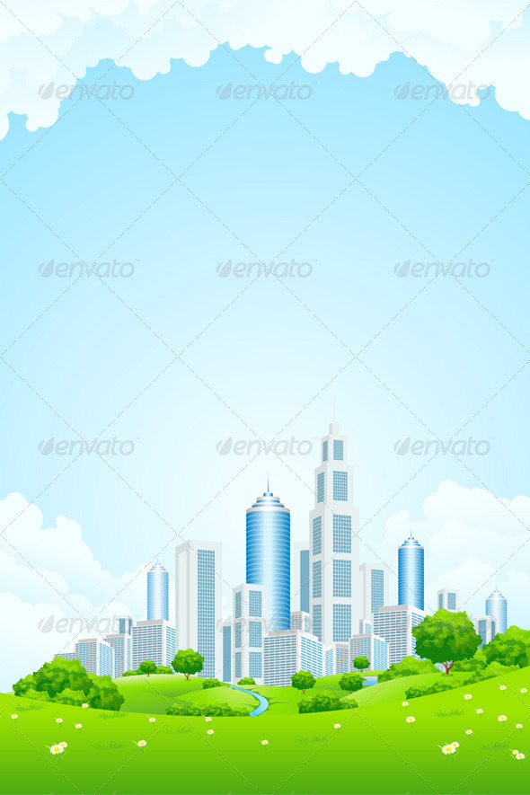 City Landscape with Green Hills - Landscapes Nature