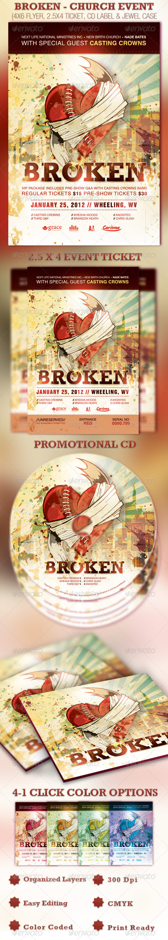 Broken Church Event Flyer, Ticket and CD Template - Church Flyers