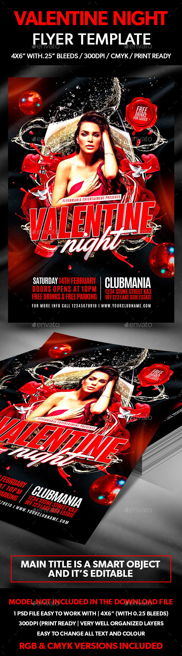 Valentine Night Flyer Template - Flyers Print Templates