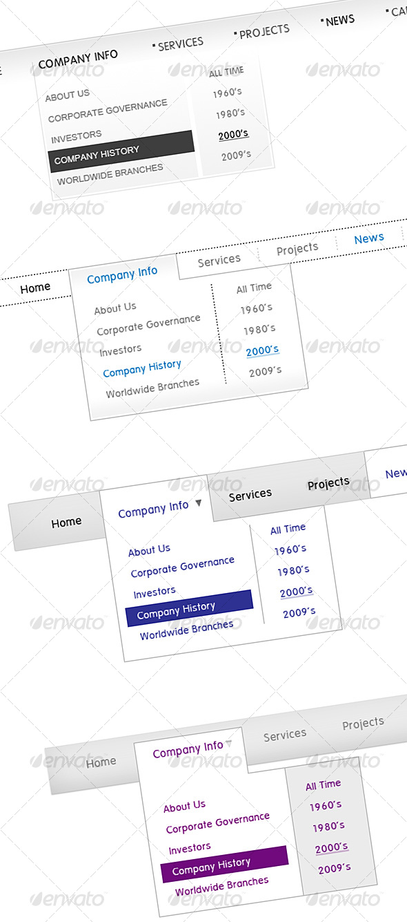 Dropdown Corporate Menus - Web Elements