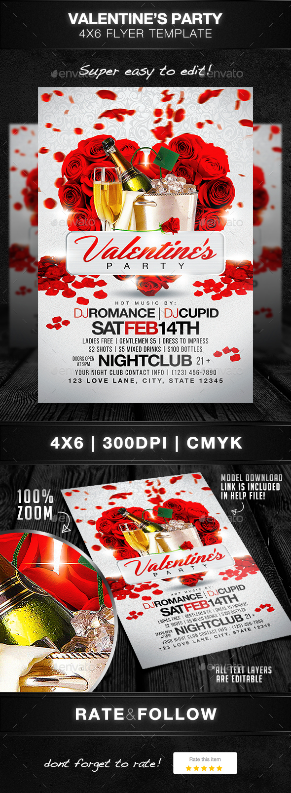 Valentine's Party Flyer Template - Holidays Events