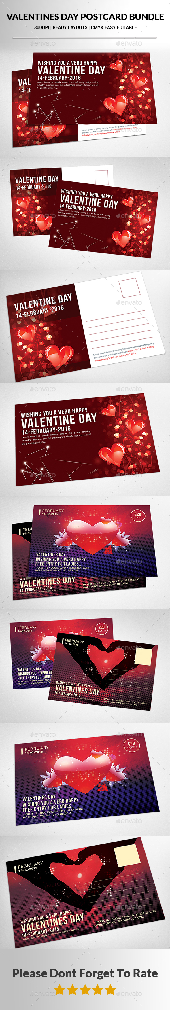Valentines Day Postcard Bundle  - Cards & Invites Print Templates