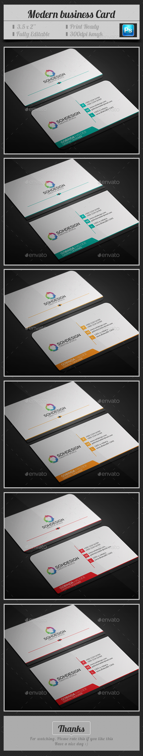 Modern Business Card V.3 - Business Cards Print Templates