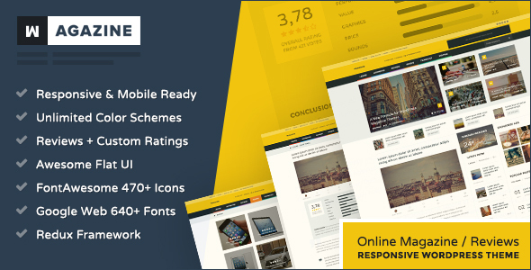 Wagazine – Magazine & Reviews Responsive WordPress Theme Free Download