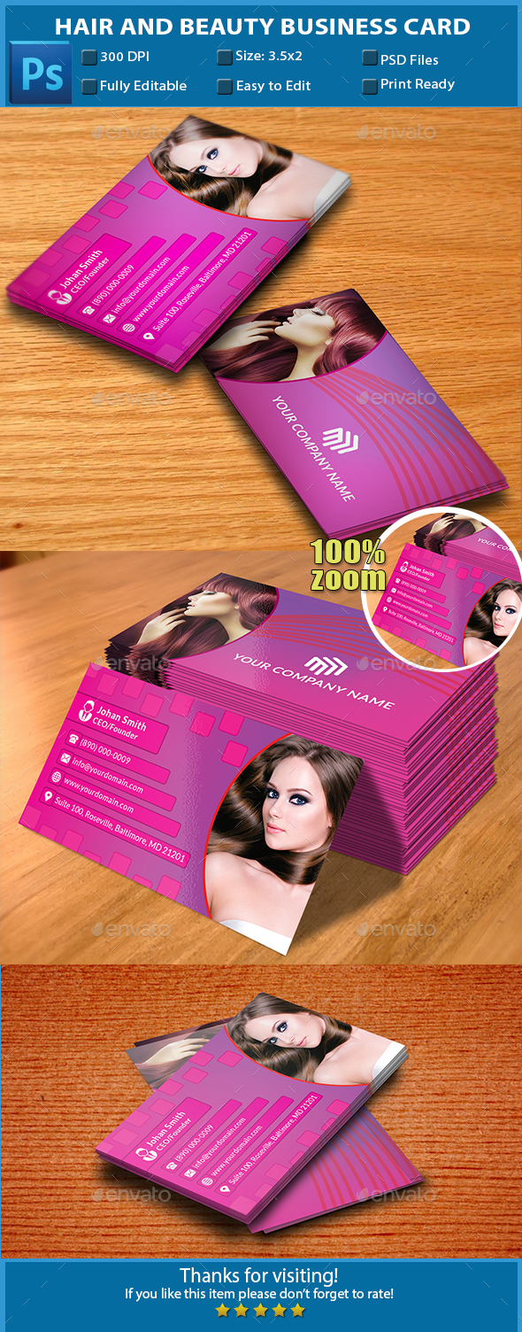 Hair and Beauty Business Card by Flamebd | GraphicRiver