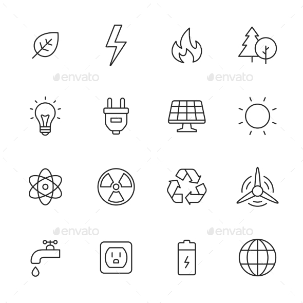 Ecology And Energy Line Icons - Miscellaneous Icons