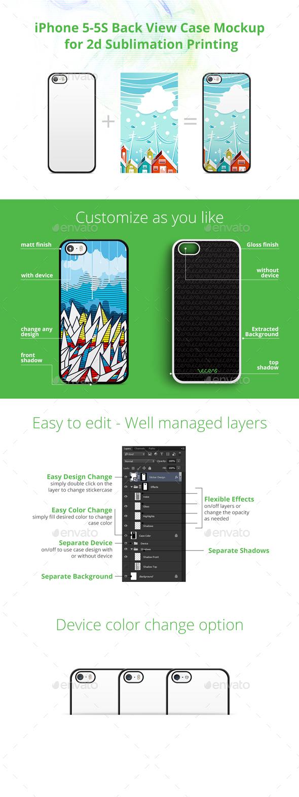 iPhone 5-5s Case Design Mockup for 2d Sublimation Printing - Back View - Mobile Displays