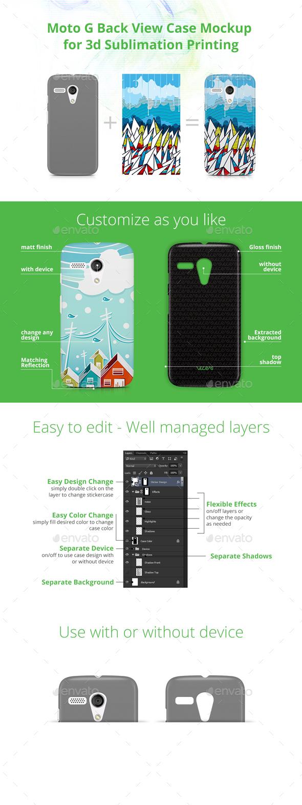 Moto G Case Design Mockup for 3d Sublimation Printing - Back View