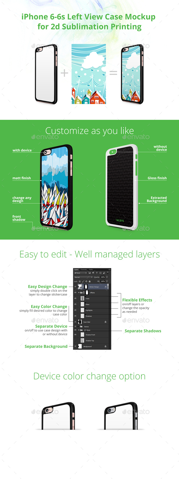 iPhone 6-6s Case Design Mockup for 2d Sublimation Printing - Left View - Mobile Displays