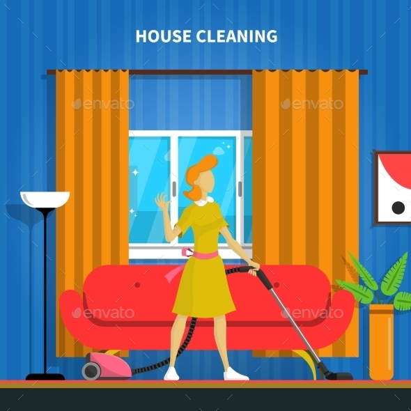 House Cleaning Background Illustration  - Services Commercial / Shopping