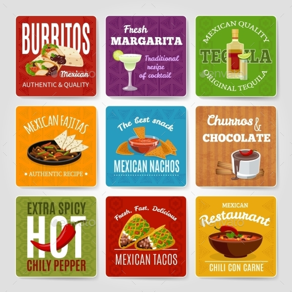 Mexican Food Labels Set  - Decorative Symbols Decorative