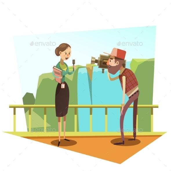 Journalist Retro Cartoon - People Characters