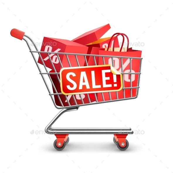 Sale Full Shopping Cart Red Pictogram - Retail Commercial / Shopping