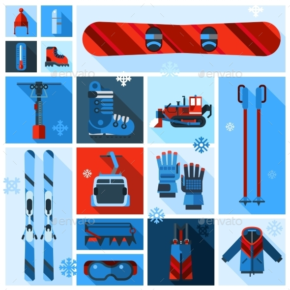 Skiing Equipment Icons Set - Sports/Activity Conceptual