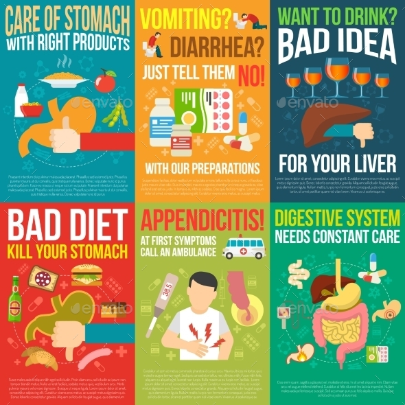 Digestion Posters Set - Health/Medicine Conceptual