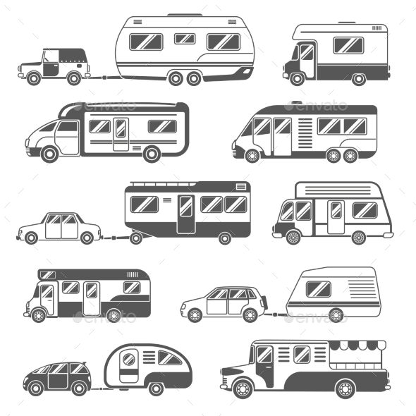 Motorhomes Black White Icons Set  - Travel Conceptual