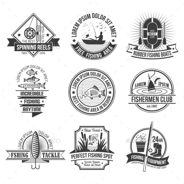 Fishing Emblems Set - Sports/Activity Conceptual