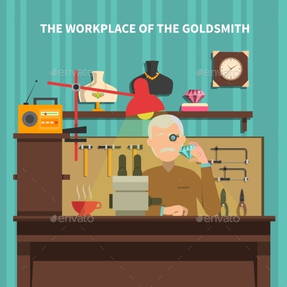 Workplace of Goldsmith Illustration  - People Characters