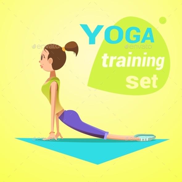 Yoga Retro Cartoon - Health/Medicine Conceptual