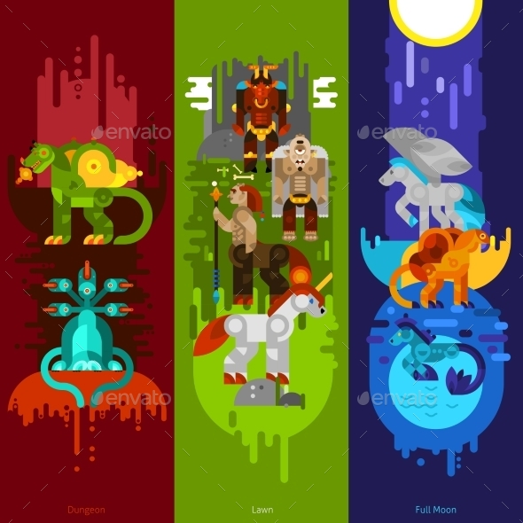 Mythical Creatures Banners Vertical - Monsters Characters