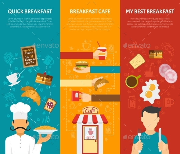 Breakfast Vertical Banners Set  - Food Objects