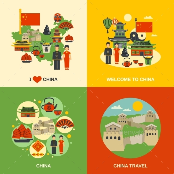 China Culture 4 Square Flat Icons  - Travel Conceptual