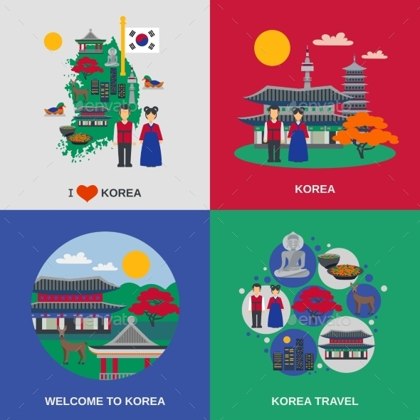 Korean Culture Square Flat 4 Icons  - Travel Conceptual