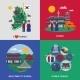 Korean Culture Square Flat 4 Icons  - GraphicRiver Item for Sale