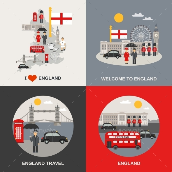 England Culture Travel 4 Flat Icons  - Travel Conceptual