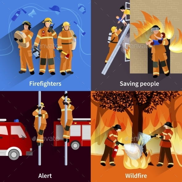 Firefighter People Design Compositions - People Characters