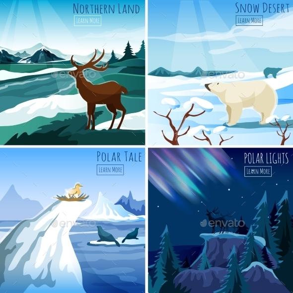 Northern Landscape 4 Flat Icons - Landscapes Nature